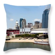 Cincinnati Ohio Skyline And Riverfront Throw Pillow