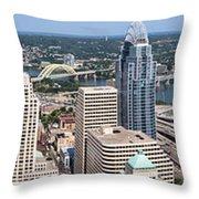 Cincinnati Panorama Aerial Skyline Downtown City Buildings Throw Pillow by Paul Velgos