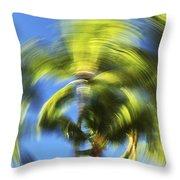 Circular Palm Blur Throw Pillow
