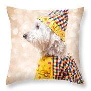 Circus Clown Dog Throw Pillow
