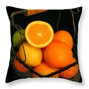 Citrus Fruit Basket Throw Pillow