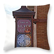 City Clock In Silver City Nm Throw Pillow