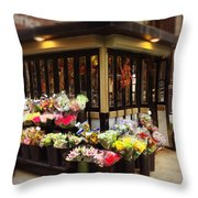 City Flowers Throw Pillow