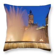 City Hall And Fountain At Dusk Throw Pillow