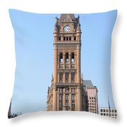 City Hall And Trolley Throw Pillow