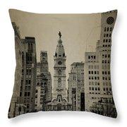 City Hall From North Broad Street Philadelphia Throw Pillow