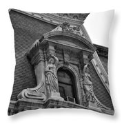 City Hall Window In Black And White Throw Pillow