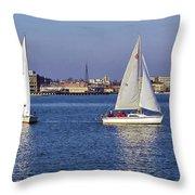 City Harbor Sailing Throw Pillow