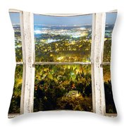City Lights White Rustic Picture Window Frame Photo Art View Throw Pillow