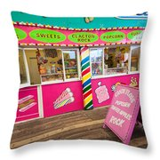 Clacton Pier Shop Throw Pillow