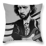 Clapton In Black And White Throw Pillow