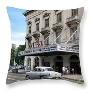 Classic Auto And Old Movie Theatre Throw Pillow