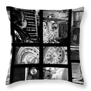 Classic Car Collage In Black And White Throw Pillow