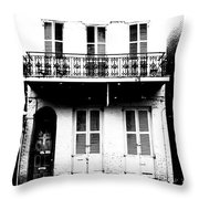 Classic French Quarter Residence New Orleans Black And White Conte Crayon Digital Art Throw Pillow