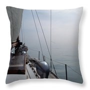Classic Wooden Sailboat With No Horizon Off The Bow Throw Pillow