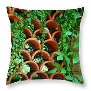 Clay Pattern Wall With Vines Throw Pillow