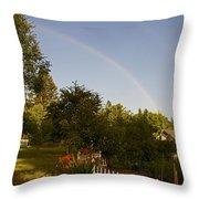 Clear Sky Rainbow Throw Pillow
