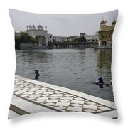Clearing The Sarovar Inside The Golden Temple Resorvoir Throw Pillow