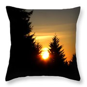 Clearing The Trees In The Morning Throw Pillow