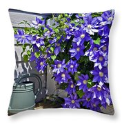 Clematis And Watering Can Throw Pillow