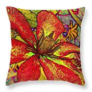 Clematis In Colored Pencil  Throw Pillow