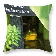 Clever Froggy's Hideout Throw Pillow