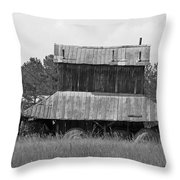 Clewis Family Tobacco Barn II In Black And White Throw Pillow