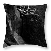 Cliff Dancers Black And White Throw Pillow