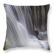 Cliff Falls In Maple Ridge Throw Pillow