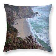 Cliffs And Surf On The California Coast Throw Pillow