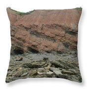 Cliffs At Joggins Nova Scotia Throw Pillow