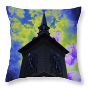 Clock Tower Night Throw Pillow