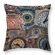 Clocks Of Paris Throw Pillow