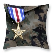 Close-up Of A Medal On The Uniform Throw Pillow