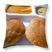 Close Up Of A Plate Of Indian Food Delicacy Kachori With Sabzi And Chutney Throw Pillow