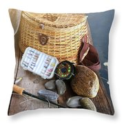 Close-up Of Fishing Equipment And Hat  Throw Pillow