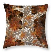 Close-up Of Soft Coral Revealing Throw Pillow by Terry Moore