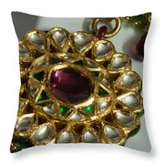 Close Up Of The Gold And Diamond Setting Of A Large Necklace Throw Pillow