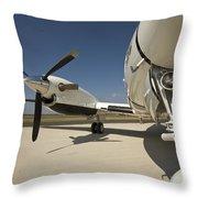Close Up Of Turbo-prop Aircraft Throw Pillow