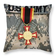 Close-up View Of A German Gold Cross Throw Pillow