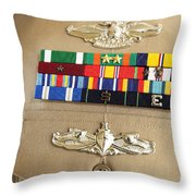 Close-up View Of Military Decorations Throw Pillow