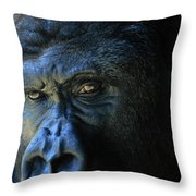 Close View Of A Gorilla Gorilla Gorilla Throw Pillow