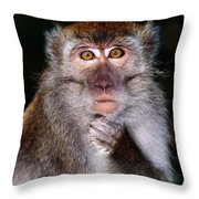 Close View Of A Long-tailed Macaque Throw Pillow
