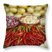 Close View Of Chili Peppers And Other Throw Pillow