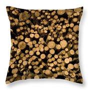Close View Of Freshcut Wood Waiting Throw Pillow