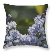 Close View Of Hyacinth Lilacs Syringa Throw Pillow