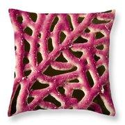Closeup Detail Of A Pink Sea Fan Throw Pillow