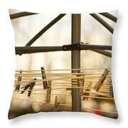 Clothespins On The Line Throw Pillow