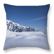 Cloud-covered Bowl Of The Upper Hubbard Glacier Throw Pillow