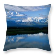 Cloud-enshrouded Mt. Mckinley Reflected Throw Pillow